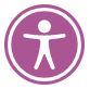 White icon of a person in a purple circle