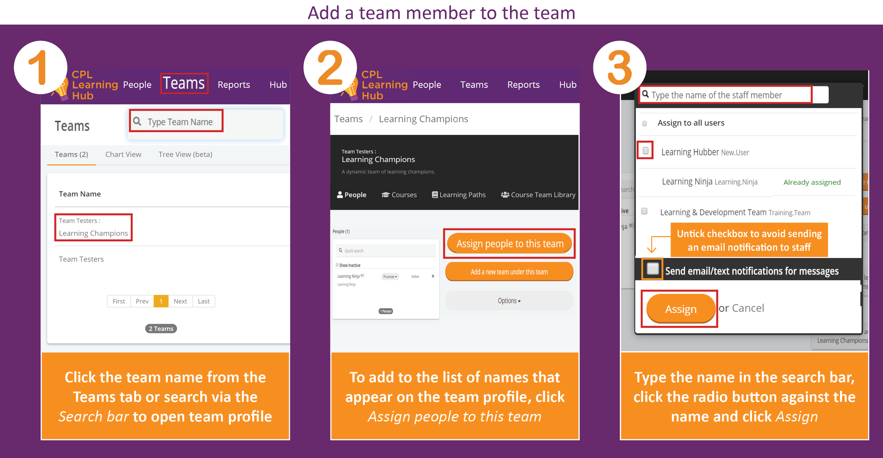 Screenshot displaying instructions for adding a team member