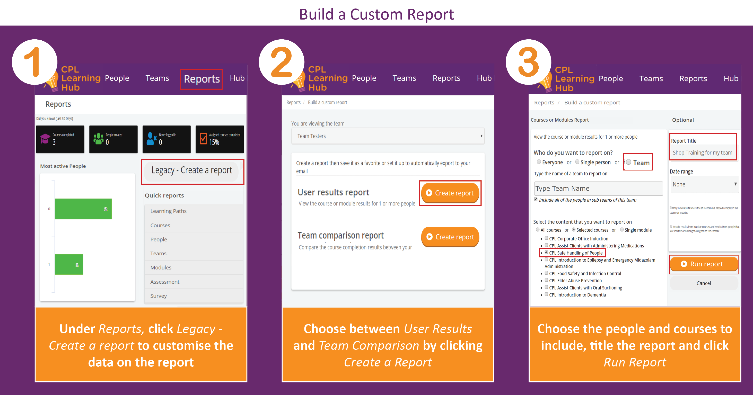 Screenshot displaying instructions for building a custom report
