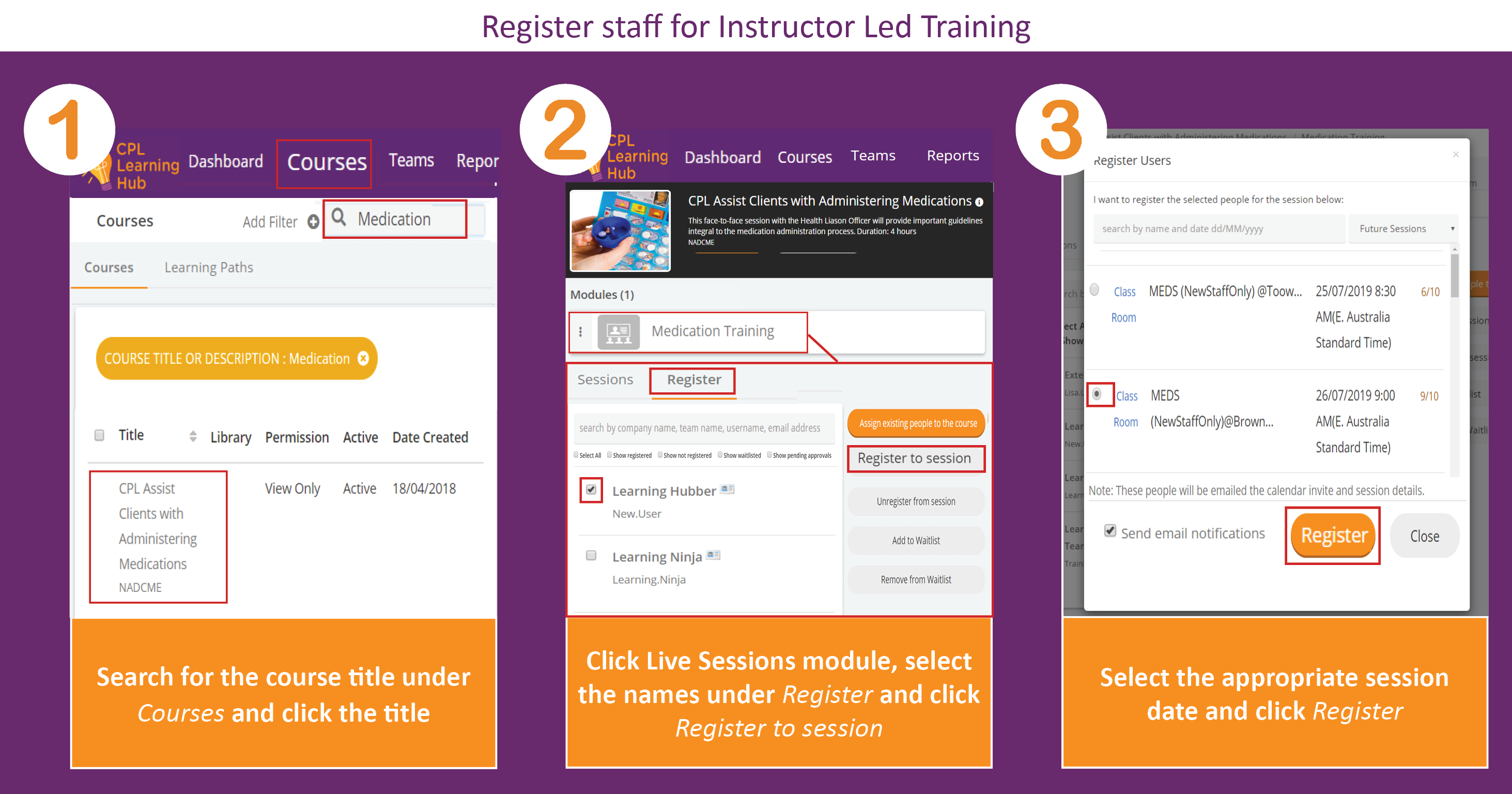 Screenshot displaying instructions for registering staff