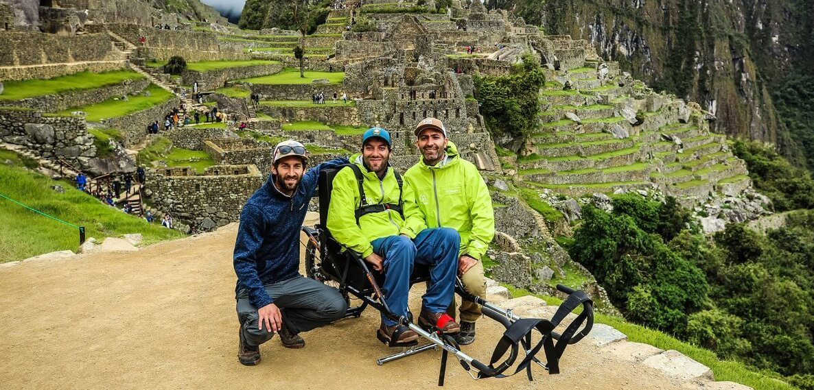 Three people in outdoor gear at Machu Piccu