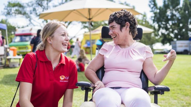 Support worker and client at Ipswich picnic