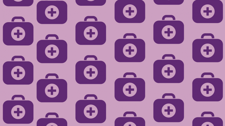 patterned graphic with small medical bag icons